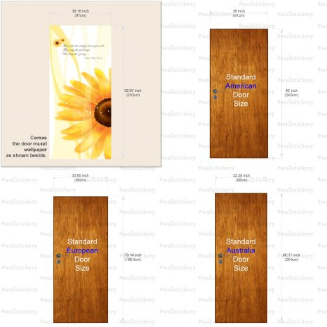Sunflower Door Contact Paper Self Adhesive Peel Stick Size Information