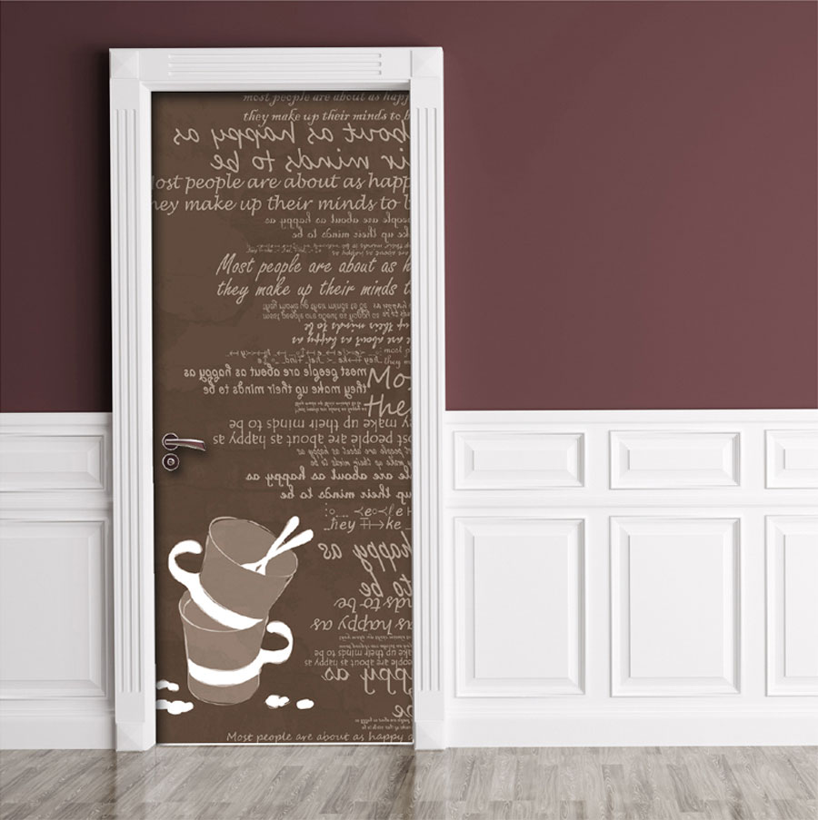 Brown Cups Typography Door Contact Paper Peel Stick Kids Room