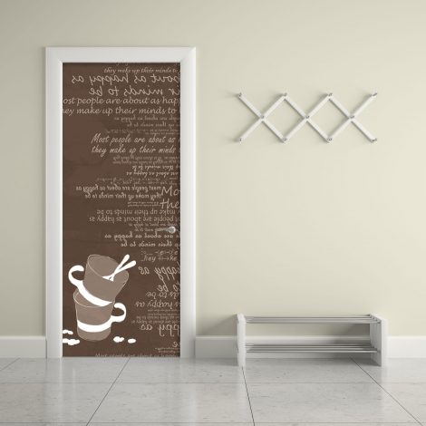 Brown Cups Typography Door Contact Paper Peel Stick Living Room