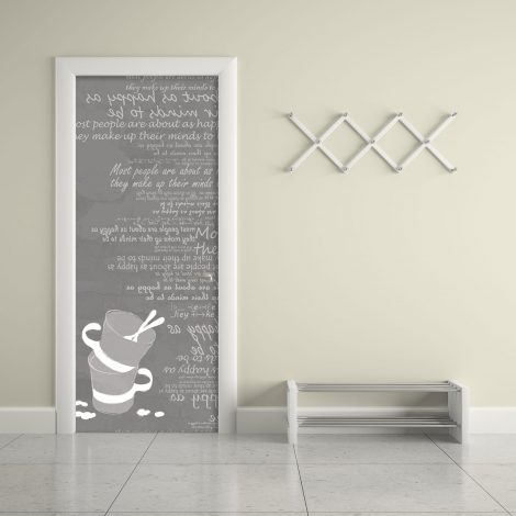 Gray Cups Typography Door Contact Paper Peel Stick Living Room
