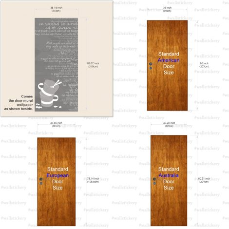 Gray Cups Typography Door Contact Paper Peel Stick Size Information