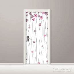 Pink Flower White Door Contact Paper Peel Stick Home