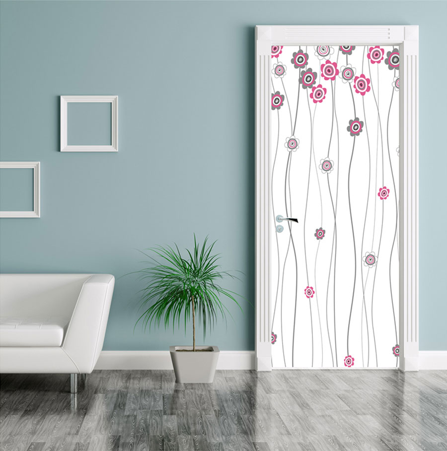 Pink Flower White Door Contact Paper Peel Stick Covering