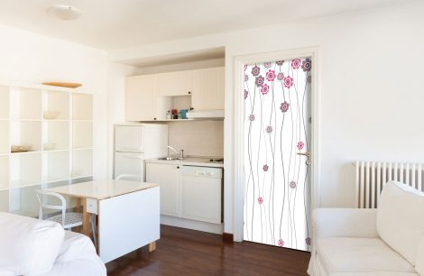 Pink Flower White Door Contact Paper Peel Stick Kitchen