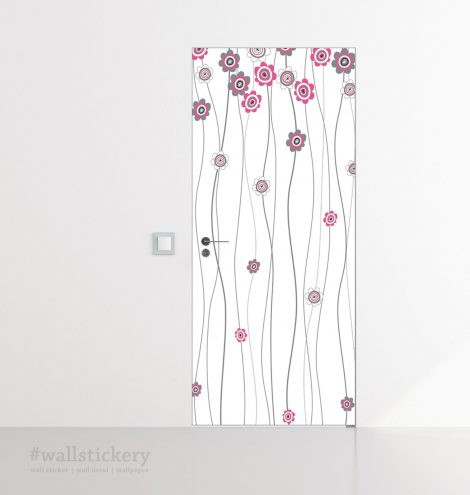 Pink Flower White Door Contact Paper Peel Stick Dining Room
