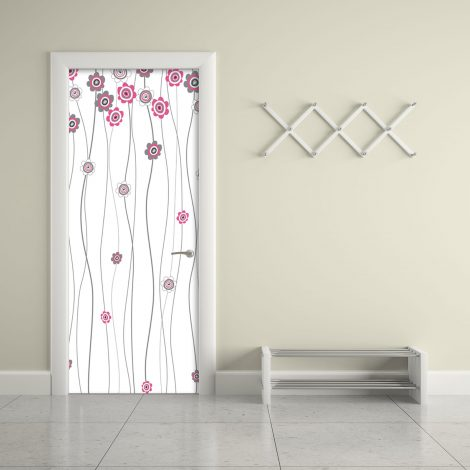 Pink Flower White Door Contact Paper Peel Stick Office