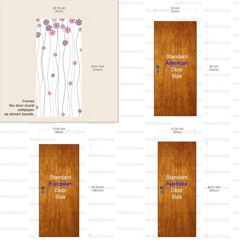 Pink Flower White Door Contact Paper Peel Stick Size Information