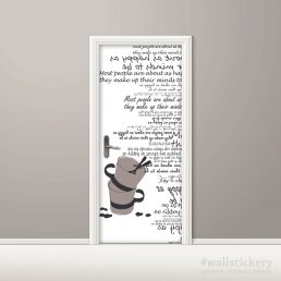Cups Typography White Door Contact Paper Peel Stick