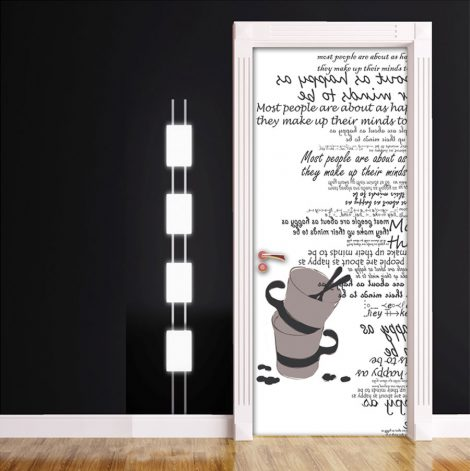 Cups Typography White Door Contact Paper Peel Stick Living Room