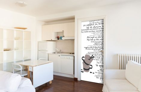 Cups Typography White Door Contact Paper Peel Stick Kitchen