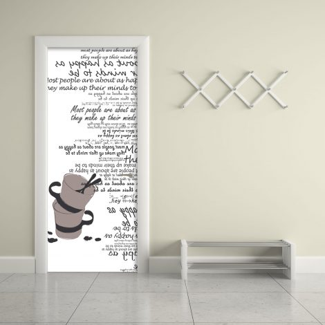 Cups Typography White Door Contact Paper Peel Stick Office