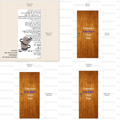 Cups Typography White Door Contact Paper Peel Stick Size Information