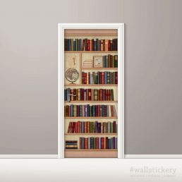 Door Sticker Bookshelf Contact Paper with globe