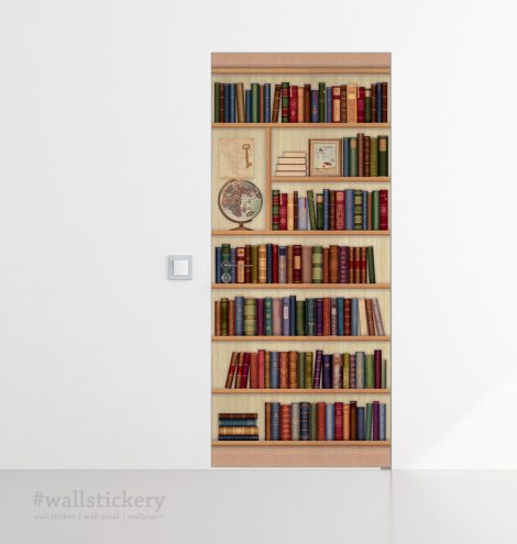 Door Sticker Bookshelf Contact Paper with globe room