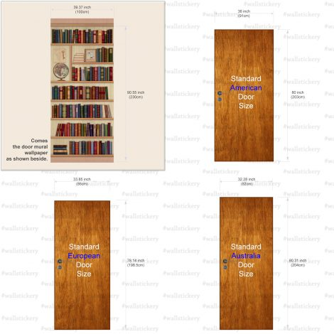 Door Sticker Bookshelf Contact Paper with globe size