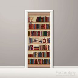 Door Sticker Contact Paper Bookshelf with Desk Clock removable