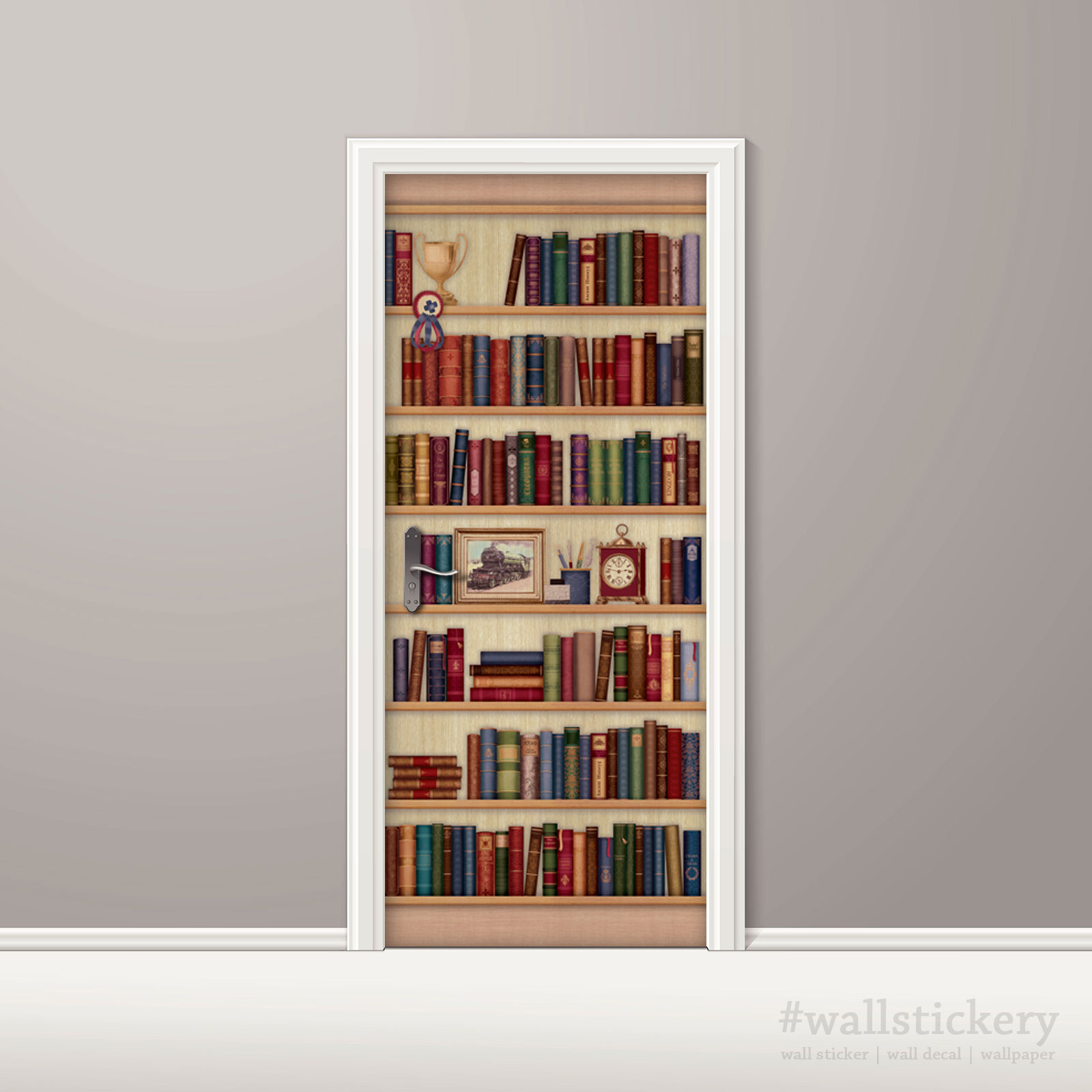Door sticker contact paper bookshelf with desk clock for Bookshelf mural wallpaper