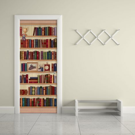 Door Sticker Contact Paper Bookshelf with Desk Clock living room