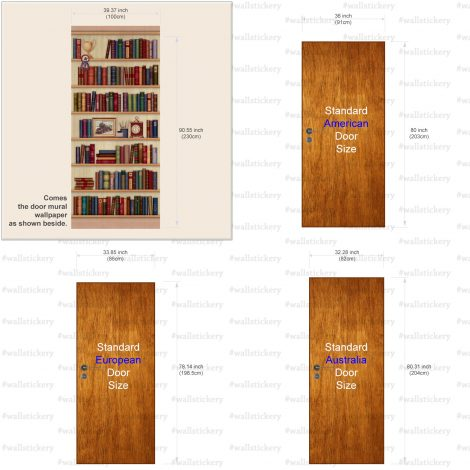 Door Sticker Contact Paper Bookshelf with Desk Clock install