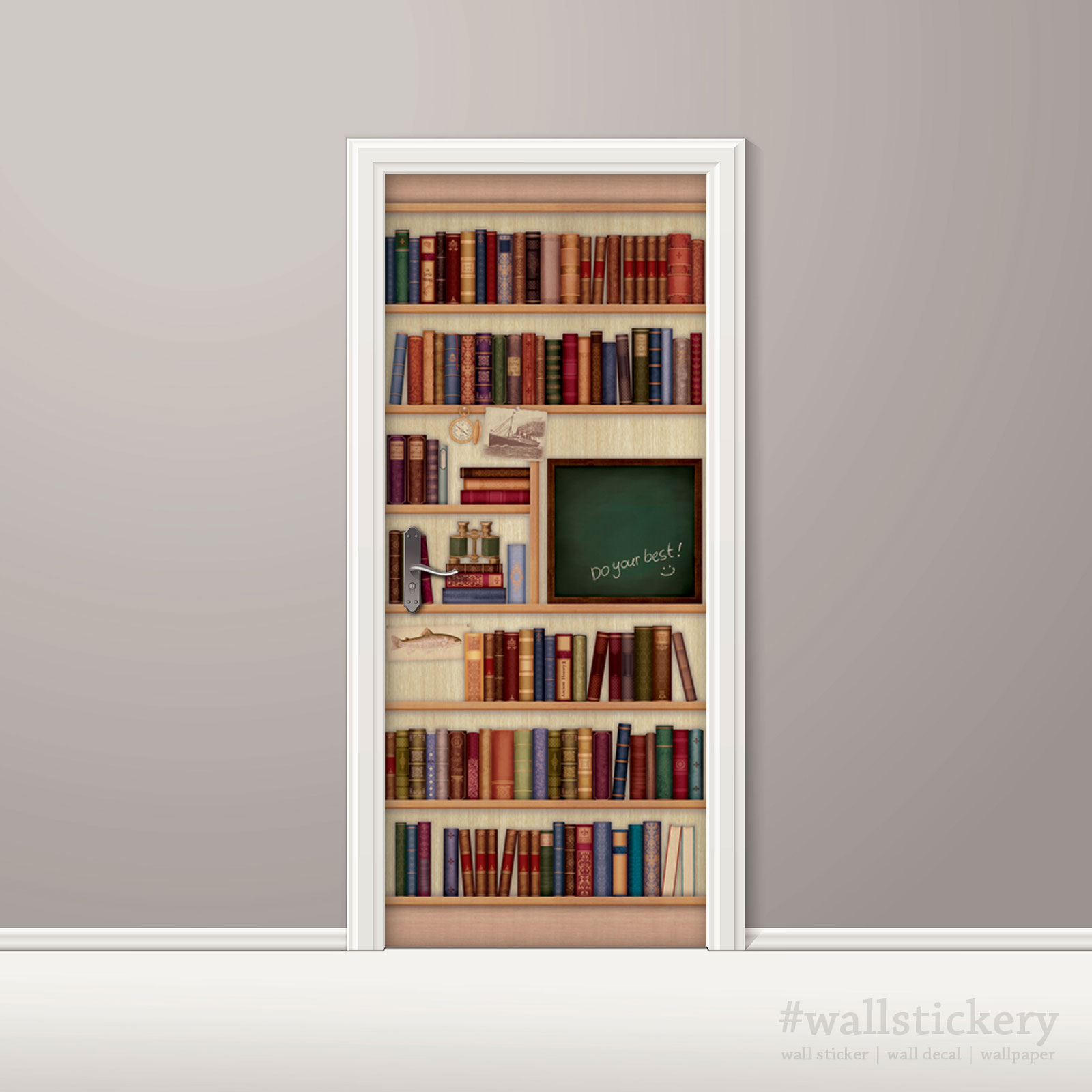 Door sticker contact paper bookshelf with chalkboard for Bookshelf mural wallpaper
