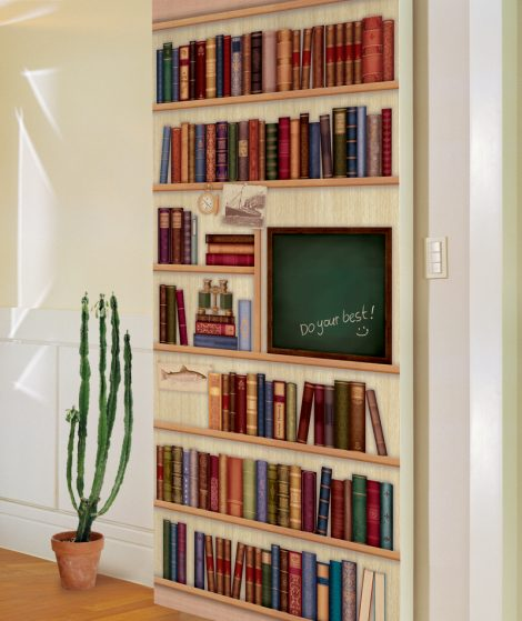 Door Sticker Contact Paper Bookshelf with Chalkboard removable
