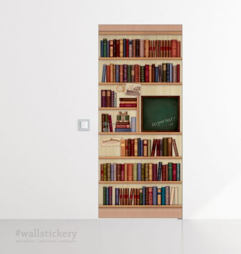 Door Sticker Contact Paper Bookshelf with Chalkboard decoration