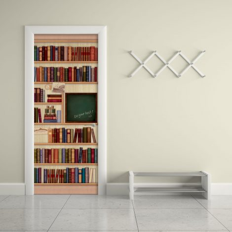 Door Sticker Contact Paper Bookshelf with Chalkboard mural