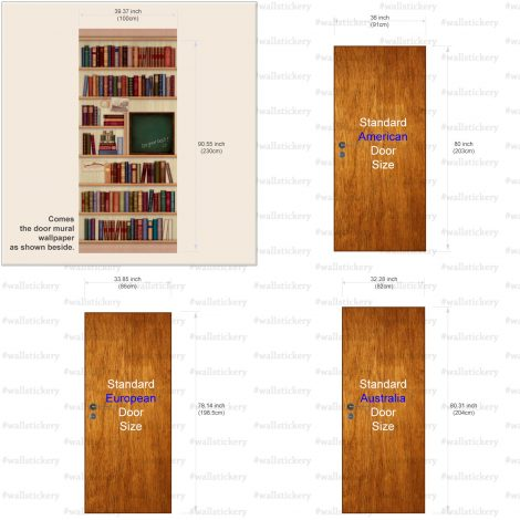 Door Sticker Contact Paper Bookshelf with Chalkboard size