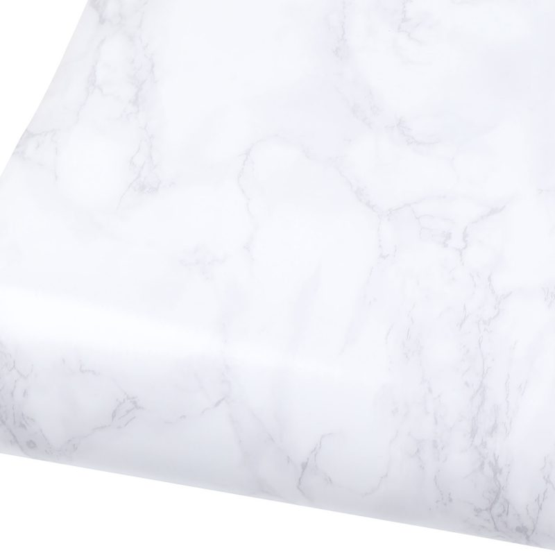 Gloss Marble Contact Paper White Gray Granite Wallpaper